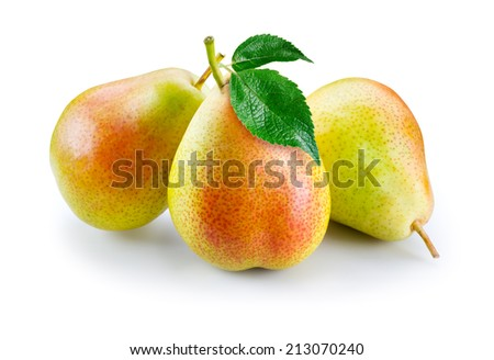 Ripe pears with leaves isolated on white. - stock photo