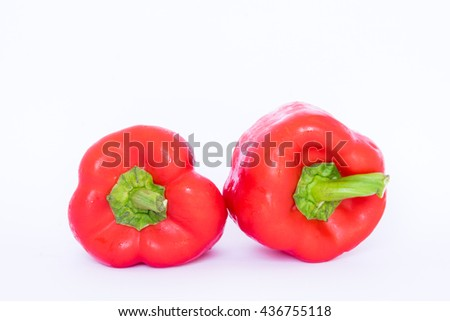 ripe peppers isolated on white background (pepper, bell, capsicum) - stock photo