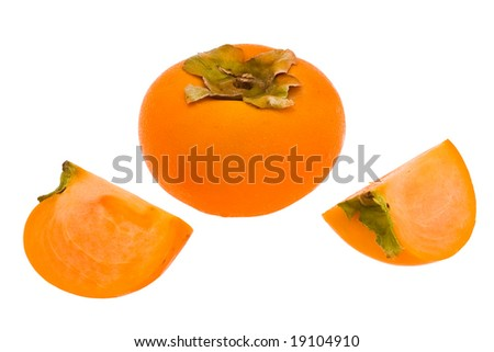 ripe persimmon fruit depicted on a white background