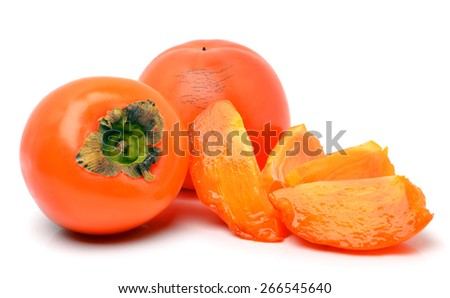 Ripe persimmon fruits isolated on white background