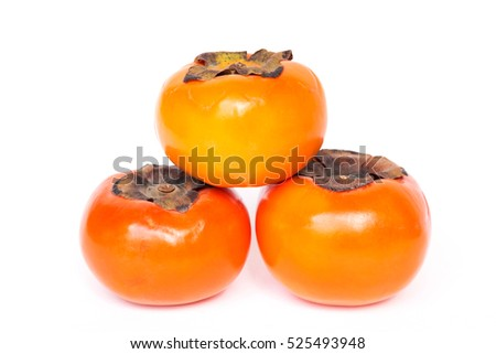 Ripe persimmons fruits isolated on white background