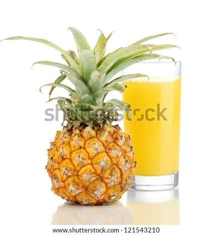 Ripe pineapple and juice glass isolated on white - stock photo
