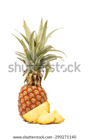ripe pineapple and slice  isolated on white background,  put on vertical - stock photo