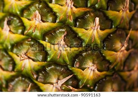 Ripe pineapple, close-up - stock photo