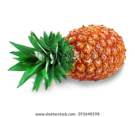Ripe pineapple close-up isolated on a white background. - stock photo