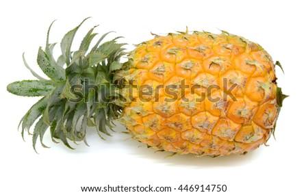 Ripe pineapple fruit isolated on white background - stock photo