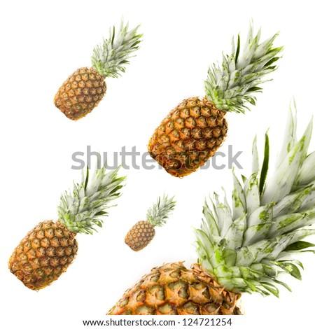 Ripe pineapple isolated on white - stock photo