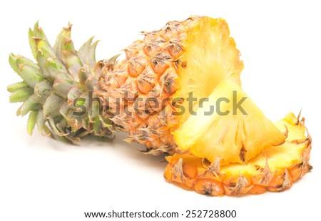 ripe pineapple isolated on white background - stock photo