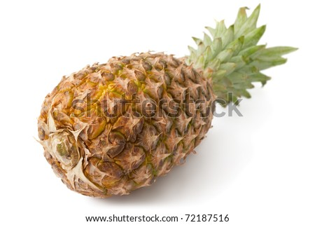 ripe pineapple isolated on white, shot from the bottom side