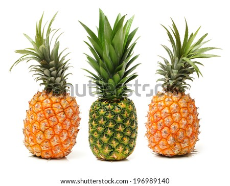 ripe pineapple on the white background  - stock photo