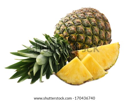 Ripe pineapple on white background.