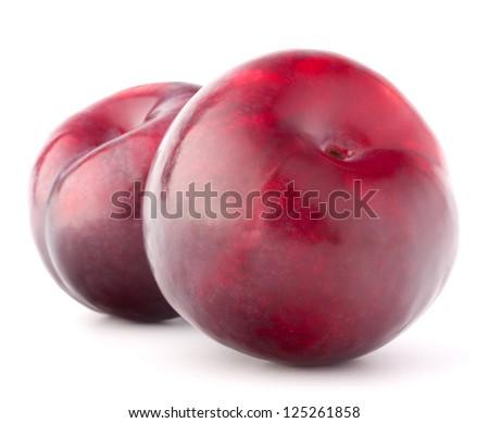 Ripe plum  fruit isolated on white background cutout - stock photo