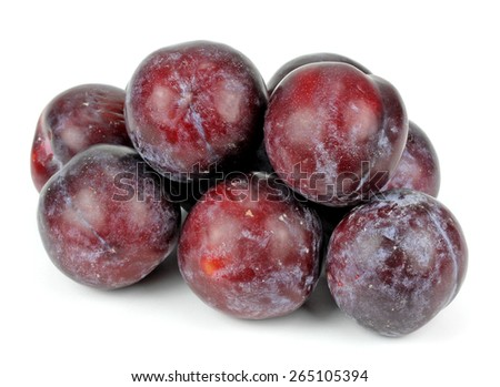 ripe plums on a white background isolated - stock photo