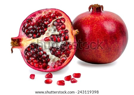 Ripe pomegranate fruit isolated on white background - stock photo