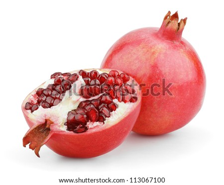 Ripe pomegranate fruit with half isolated on white background - stock photo