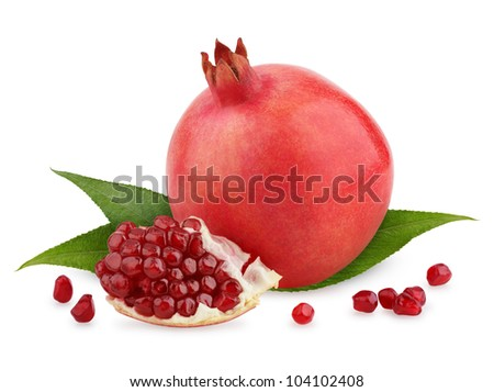Ripe pomegranate fruit with leaves and seeds isolated on white background - stock photo