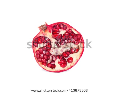 Ripe pomegranate on a white background. Fresh pomegranate - stock photo