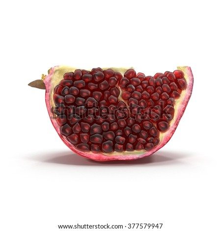 Ripe pomegranate piece isolated on white background