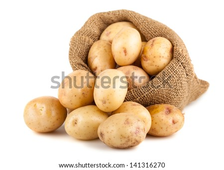 Ripe potatoes in a burlap bag isolated on white background - stock photo