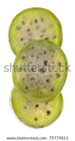 Ripe Prickly Pear Cactaceous Fruit Isolated on White with a Clipping Path. - stock photo