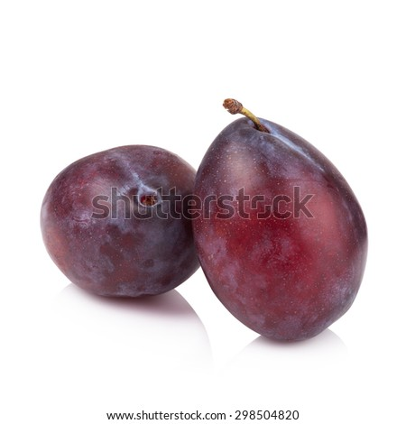 ripe prune or plum isolated on a white background.