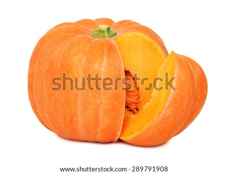 Ripe pumpkin with slice isolated on white background - stock photo