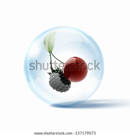Ripe red and black cherry berries inside a glass sphere