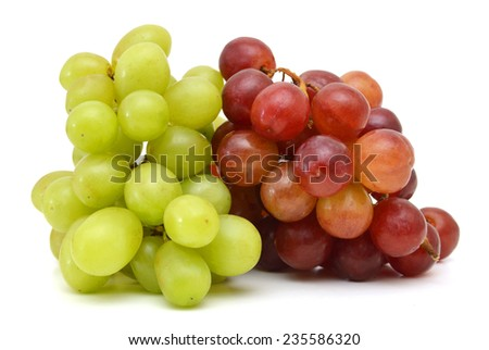 Ripe red  and green grapes isolated on white  - stock photo