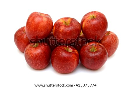 Ripe red apple fruits isolated on white background - stock photo