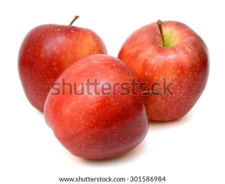Ripe red apple Isolated on white background. - stock photo