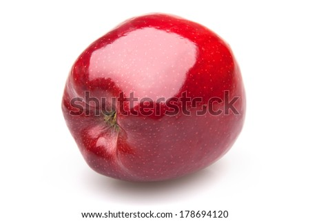 ripe red apple on a white background with shadow