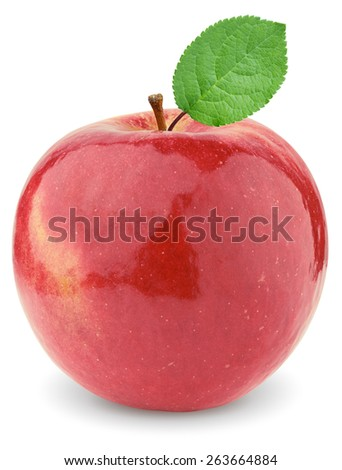 Ripe red apple with a green leaf. Isolated on a white background. - stock photo