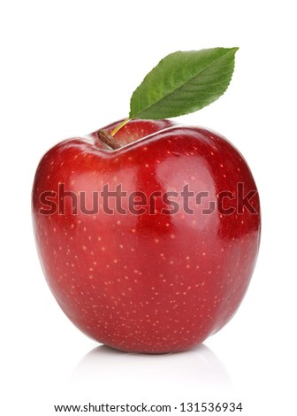 Ripe red apple with green leaf. Isolated on white background - stock photo