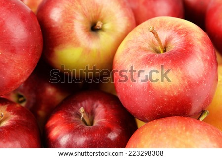 Ripe red apples close up - stock photo