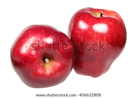 Ripe red apples is isolated on a white background - stock photo