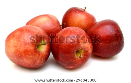 Ripe red apples Isolated on white background - stock photo