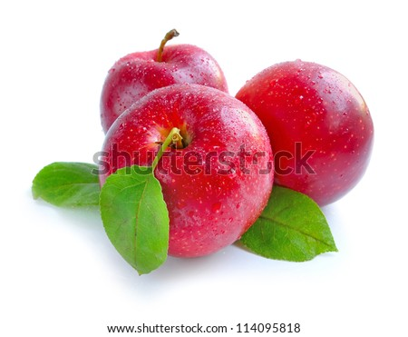 Ripe red apples on a white background - stock photo