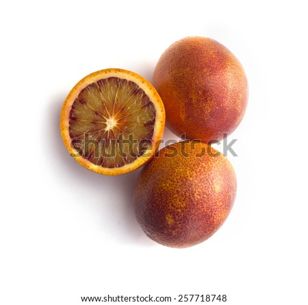 Ripe red blood oranges  - stock photo