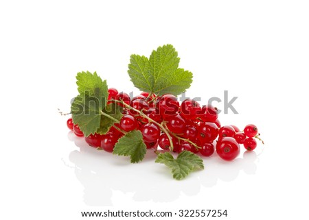 Ripe red currant isolated on white background. Healthy summer fruit eating.  - stock photo