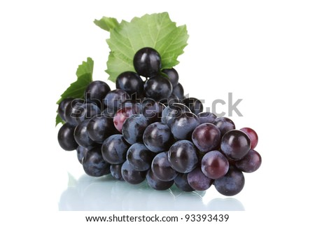 Ripe red grapes isolated on white - stock photo