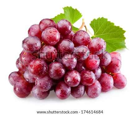Ripe red grapes with leaves isolated - stock photo