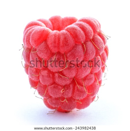 Ripe Red Juicy Raspberry Isolated on the White Background - stock photo