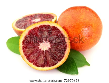 Ripe red orange on a white background
