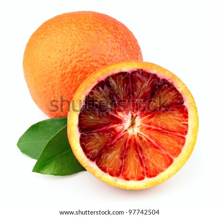 Ripe red orange with leafs on a white background