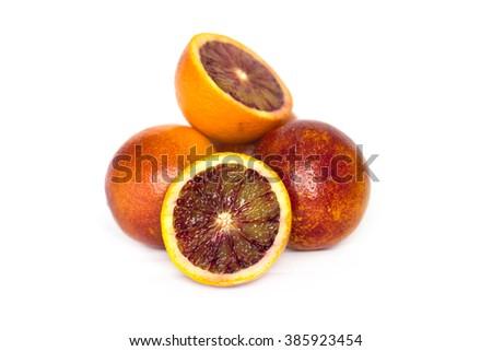Ripe red oranges isolated on white background - stock photo