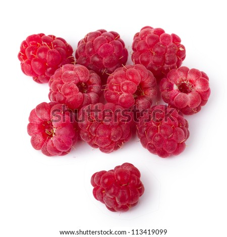 Ripe red raspberries isolated on white background