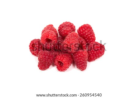 ripe red raspberry isolated on white background - stock photo