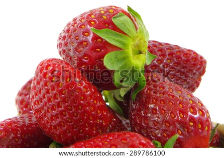 Ripe red strawberries on a white background - stock photo