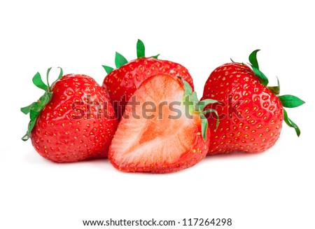 Ripe red strawberries on white background isolated - stock photo