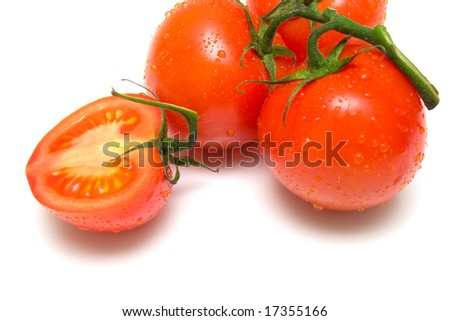 Ripe red tomatoes covered by drops of water on a green branch. Isolation on a white background. Shallow DOF
